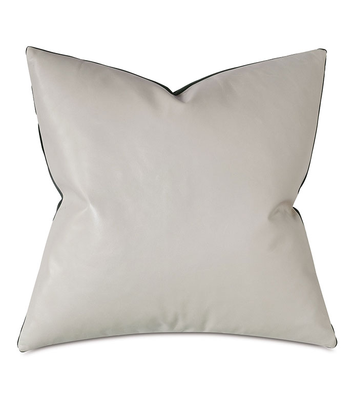 Tudor Leather Decorative Pillow In Vanilla - CREAM,LEATHER,VELVET,PILLOW,OFF WHITE,WHITE LEATHER,BLACK AND WHITE,MODERN,CONTEMPORARY,MADE IN USA,100% LEATHER,ACCENT PILLOW,THROW PILLOW,SQUARE,20X20