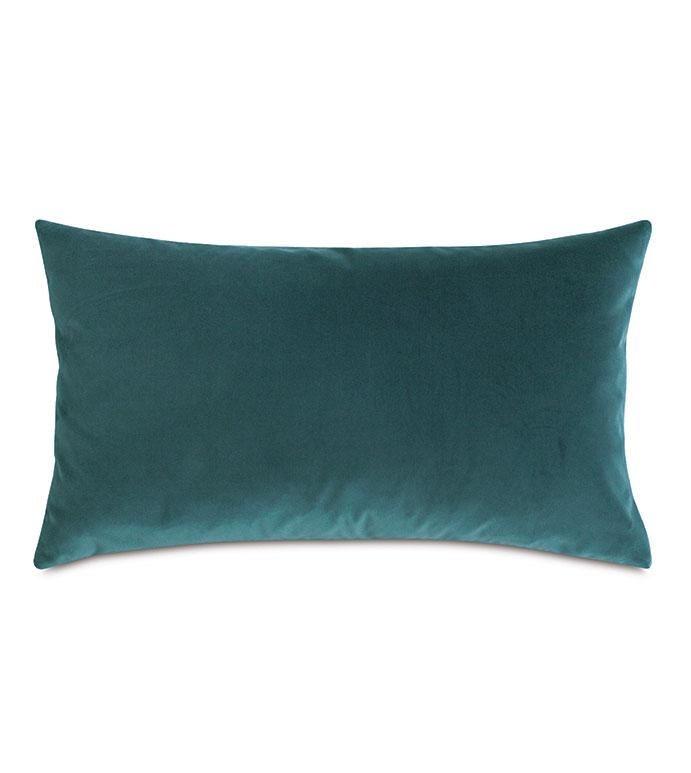 Uma Velvet Decorative Pillow In Teal - ,15X26 PILLOW,LARGE BOLSTER,VELVET BOLSTER,TEAL BOLSTER,TEAL PILLOW,VELVET PILLOW,TEAL VELVET,BLUE VELVET,BLUE PILLOW,LUXURY VELVET,LUXURY PILLOW,TEAL THROW PILLOW,TEAL INTERIORS,