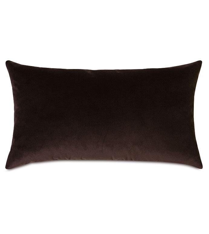Uma Velvet Decorative Pillow In Brown - ,15X26 PILLOW,LARGE BOLSTER,VELVET PILLOW,VELVET BOLSTER,LUXURY BOLSTER,BROWN PILLOW,BROWN VELVET,VELVET THROW PILLOW,LUXURY VELVET,RECTANGLE PILLOW,SOLID VELVET,