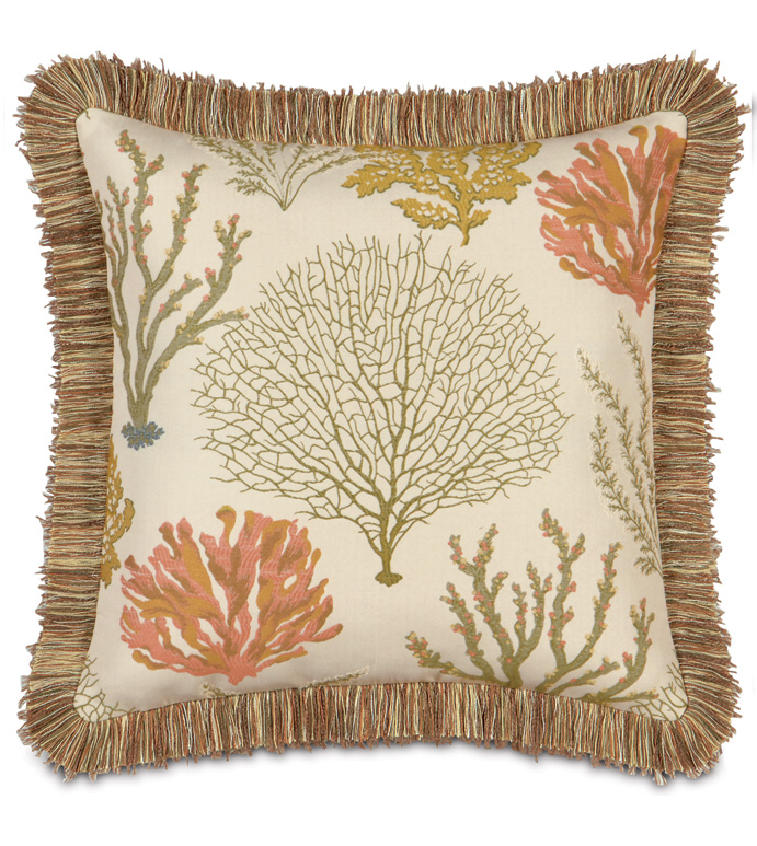 Caicos With Brush Fringe - SEA THEMED PILLOW,BEACH STYLE PILLOW,TROPICAL PILLOW,EARTH TONED,UNDER THE SEA PILLOW,BEACH HOUSE,CORAL,CASUAL TROPICAL,GREEN AND TAN,TROPICAL FRINGE PILLOW,NATURAL,BRUSH FRINGE