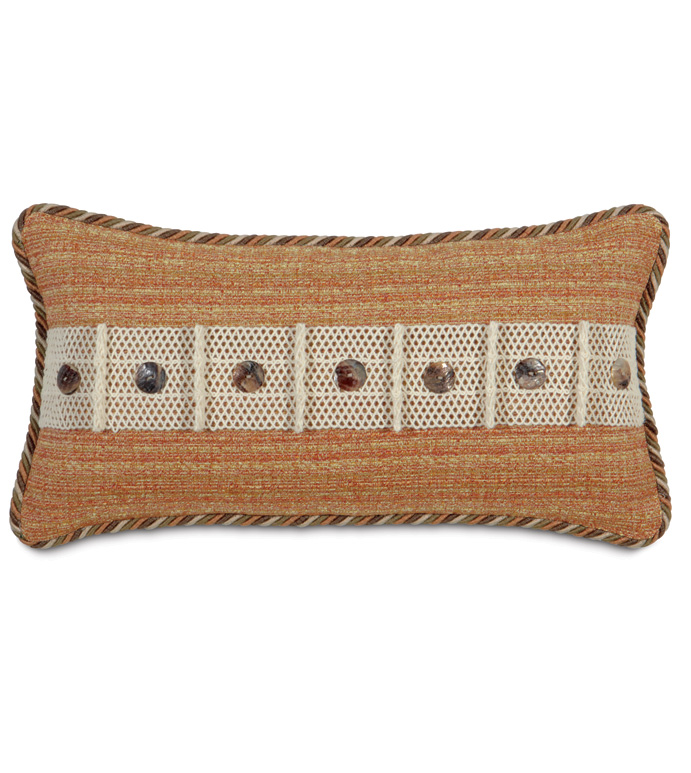 Stark Sunset With Buttons - ORANGE TROPICAL PILLOW,BURNT SIENNA,BURNT ORANGE,MOTHER OF PEARL,BUTTON ACCENT PILLOW,CABANA PILLOW,TROPICAL PILLOW,BEACH STYLE PILLOW,STRIPED,EARTH TONE,CASUAL TROPICAL,ISLAND