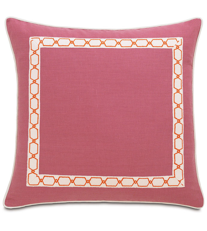 Breeze Bloom With Border - PINK LINEN PILLOW,PINK SOLID PILLOW,SOLID LINEN,HOT PINK PILLOW,INSET TRIM,PINK ECLECTIC PILLOW,CONTEMPORARY,TRANSITIONAL,ORANGE AND WHITE,PINK AND WHITE,FEMININE,TEEN ROOM,TWEEN