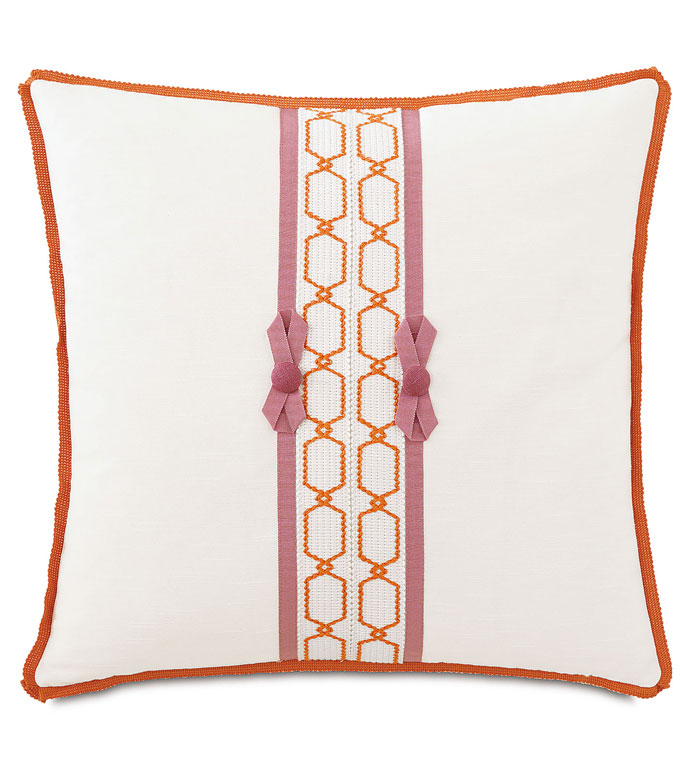 Witcoff Ivory With Bows - BOW ACCENT PILLOW,GIRLS BOW PILLOW,WHITE AND PINK PILLOW,WHITE AND ORANGE PILLOW,GIRLS ROOM PILLOW,TWEEN ROOM PILLOW,FEMININE,ECLECTIC,CONTEMPORARY,BRIGHT,STRIPED,GRAPHIC DESIGN