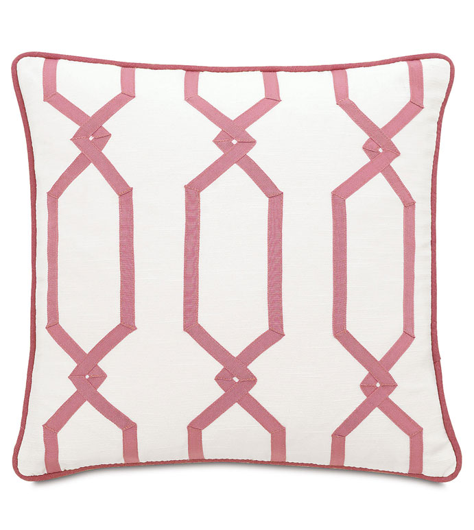 Witcoff Ivory With Rbbon Design - WHITE AND PINK PILLOW,WHITE AND PINK GIRLS PILLOW,GIRLS ROOM PILLOW,GIRLY,FEMININE,RIBBON DESIGN,GRAPHIC DESIGN,ECLECTIC,LATTICE DESIGN,TWEEN ROOM PILLOW,GIRLS BEDDING,CONTEMPORARY