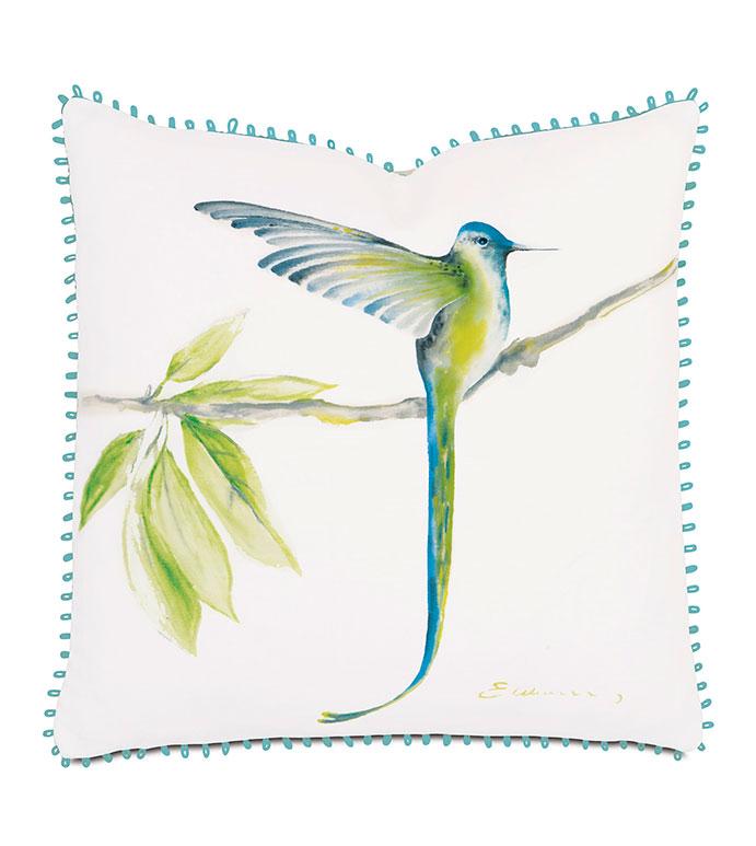 Long-Tailed Hummingbird Hand-Painted - PILLOW,BIRD PILLOW,TROPICAL PILLOW,HAND PAINTED PILLOW,WHIMSICAL PILLOW,FEMINE PILLOW,SQUARE PILLOW,THROW PILLOW,ACCENT PILLOW,DECORATIVE PILLOW,CUSTOMIZABLE PILLOW,