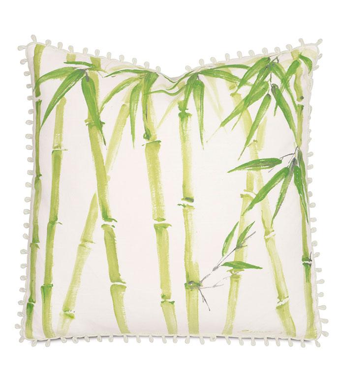 Bamboo Forest Hand-Painted - PILLOW,TROPICAL PILLOW,HAND PAINTED PILLOW,WHIMSICAL PILLOW,BAMBOO PILLOW,SQUARE PILLOW,THROW PILLOW,ACCENT PILLOW,DECORATIVE PILLOW,CUSTOMIZABLE PILLOW,CELERIE KEMBLE PILLOW