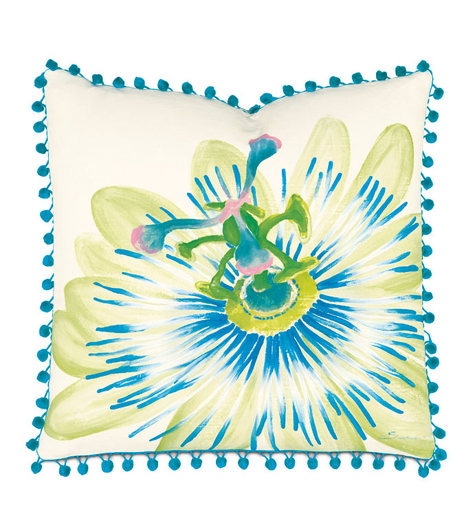 Passion Flower Hand-Painted - PILLOW,ABSTRACT PILLOW,FLORAL PILLOW,TOSS CUSHION,THROW PILLOW,SQUARE PILLOW,CUSTOMIZABLE PILLOW,WHIMSICAL PILLOW,CELERIE KEMBLE,ACCENT PILLOW,FRINGE PILLOW,TROPICAL PILLOW