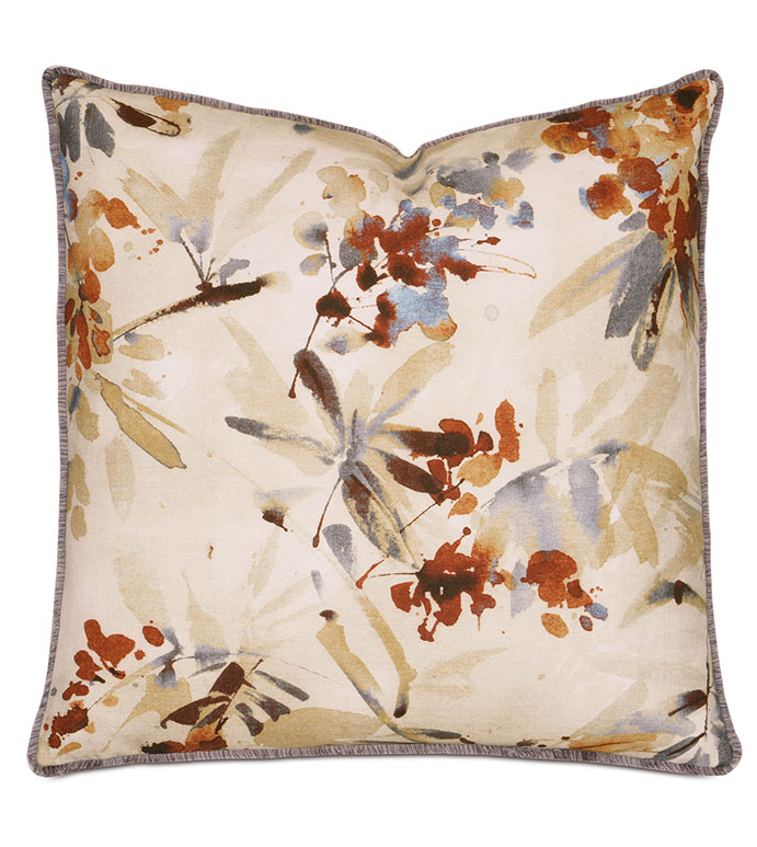 Keene Earth With Mini Brush Fringe - PILLOW,WHIMSICAL PILLOW,PRINTED PILLOW,DECORATIVE PILLOW,FLORAL PILLOW,EARTH COLORED PILLOW,SQUARE PILLOW,SQUARE CUSHION,CELERIE KEMBLE PILLOW,ZIPPER CLOSURE PILLOW,TOSS CUSHION