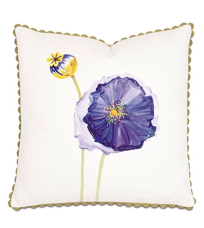Purple Poppy Hand-Painted - PILLOW,TOSS CUSHION,THROW PILLOW,SQUARE PILLOW,FLORAL PILLOW,CUSTOMIZABLE PILLOW,SPRING PILLOW,WHIMSICAL PILLOW,CELERIE KEMBLE PILLOW,POPPY PILLOW,PURPLE PILLOW,RIC RAC PILLOW