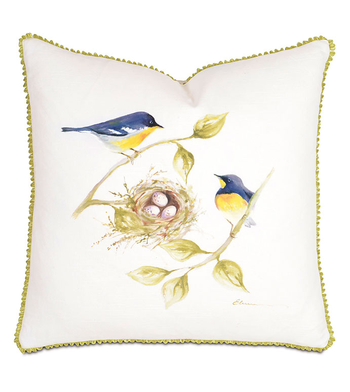 Yellow Throated Finches Hand-Painted - PILLOW,BIRD PILLOW,HAND PAINTED PILLOW,WHIMSICAL PILLOW,FEMINE PILLOW,SQUARE PILLOW,THROW PILLOW,ACCENT PILLOW,DECORATIVE PILLOW,CUSTOMIZABLE PILLOW,CELERIE KEMBLE PILLOW