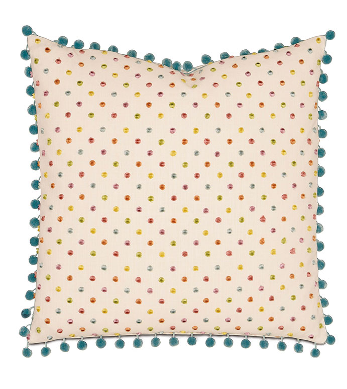 Rue Garden With Ball Trim - PILLOW,POLKA DOT PILLOW,TOSS CUSHION,THROW PILLOW,SQUARE PILLOW,WHIMSICAL PILLOW,CUSTOMIZABLE PILLOW,BALL TRIM PILLOW,CELERIE KEMBLE PILLOW,BED PILLOW,ACCENT PILLOW,