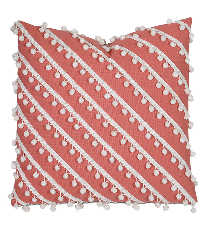 Cove Ball Trim Decorative Pillow in Coral - PILLOW,OUTDOOR PILLOW,WEATHERPROOF,WATERPROOF,SUNBRELLA,TROPICAL,CORAL,SALMON,RED,PINK,ORANGE,20X20,SQUARE,BALL TRIM,STRIPE,TEXTURE,POM-POMS,POM-POM,WHITE,PASTEL,