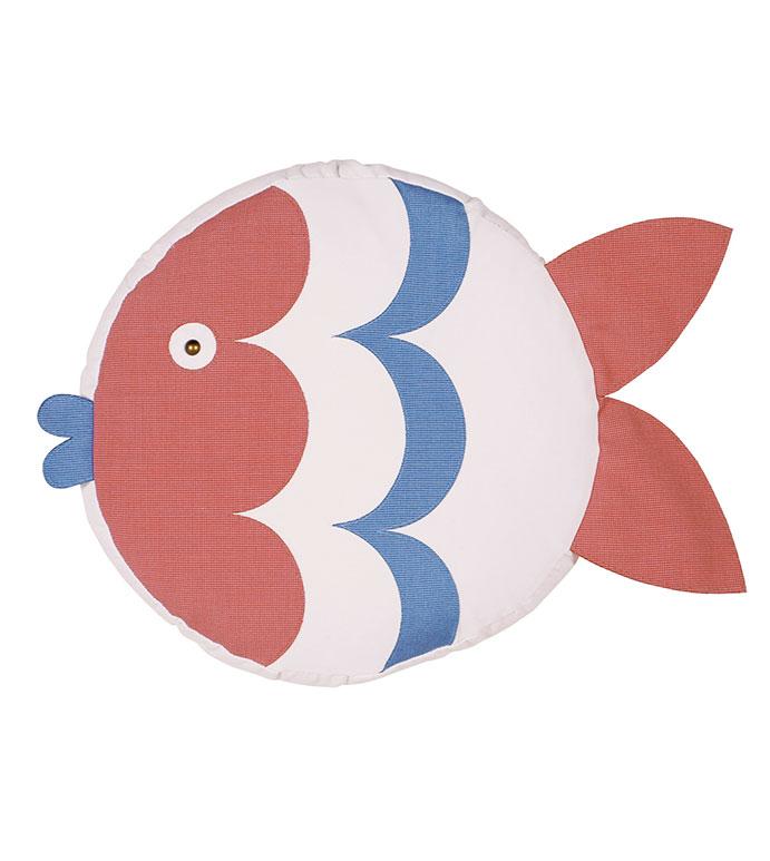 Pez Fish Decorative Pillow (Right) - PILLOW,OUTDOOR PILLOW,FISH PILLOW,TAMBOURINE CUSHION,THROW PILLOW,MILDEW PROOF PILLOW,CUSTOMIZABLE PILLOW,SUNBRELLA PILLOW,WHIMSICAL PILLOW,CELERIE KEMBLE PILLOW,ROUND,TAMBOURINE,