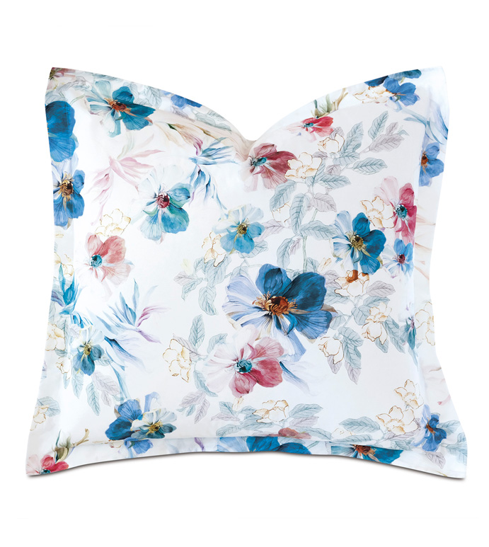 Adare Manor Floral Euro Sham - EURO SHAM,EURO,PILLOW,FLORAL,WATERCOLOR,FLOWER,PASTEL,PINK,BLUE,FINE LINENS,LUXURY BEDDING,SATEEN,THREAD COUNT,SILKY,SMOOTH,LUXURY