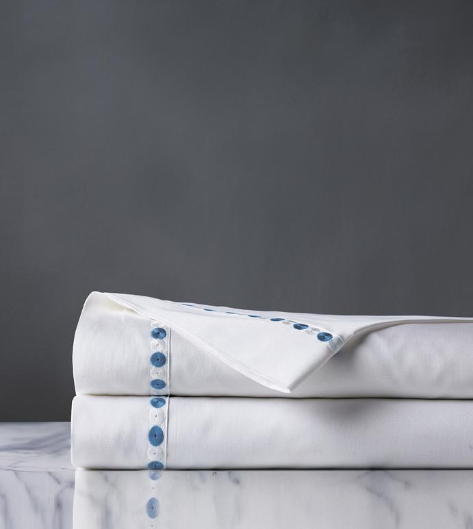 Tivoli Ocean Flat Sheet - flat sheet,queen flat sheet,white sheet,washable flat sheet,blue sheet,high thread count sheet,egyptian cotton sheet,luxury linen,luxury sheet,high end bedding,bedding,top of bed