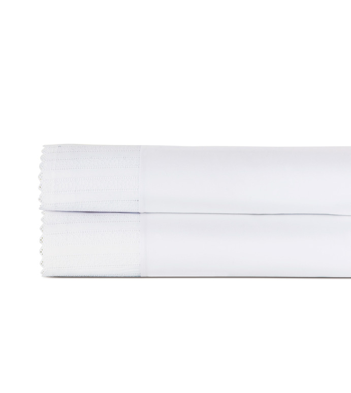 Abingdon White Flat Sheet - flat sheet,queen flat sheet,classic white sheet,washable flat sheet,lace flat sheet,high thread count flat sheet,egyptian cotton flat sheet,luxury linen,luxury flat sheet,bedding