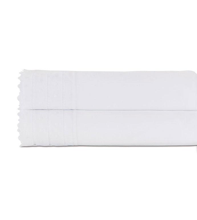 Harper White Flat Sheet - flat sheet,queen flat sheet,classic white sheet,washable flat sheet,lace flat sheet,high thread count flat sheet,egyptian cotton sheet,luxury linen,luxury flat sheet,top of bed