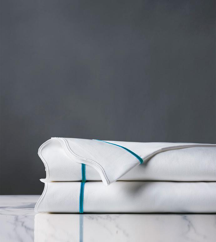 Calypso Peacock Flat Sheet - flat sheet,queen flat sheet,classic white sheet,washable flat sheet,peacock sheet,high thread count flat sheet,egyptian cotton flat sheet,luxury linen,luxury flat sheet,bedding