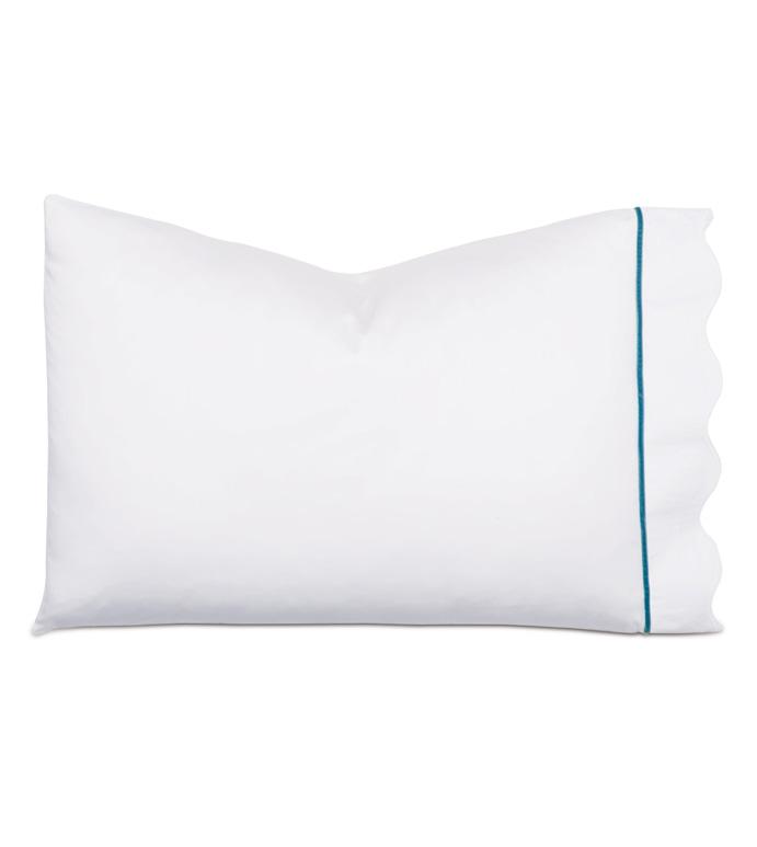 Calypso Peacock Pillowcase - pillowcase,white pillowcase,luxury linen,peacock pillow case,high thread count pillow case,sateen pillow case,egyptian cotton pillow case,luxury bedding,fine linen,washable,bedding
