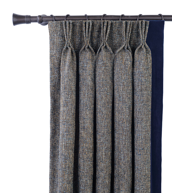 Rosenthal Dusk Curtain Panel Left - PINCH PLEAT PANEL,NAVY PLEATED CURTAIN,NAVY VELVET,NAVY DRAPE,3 FINGER PLEAT,MASCULINE,TRADITIONAL,CLASSIC,TRADITIONAL PLEATED CURTAIN,WOVEN,LUXURY CURTAIN,DECORATIVE PLEATED PANEL