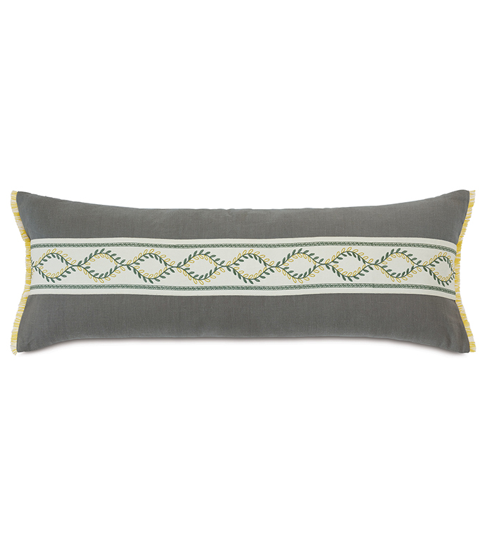 Clementine Embroidered Trim Decorative Pillow