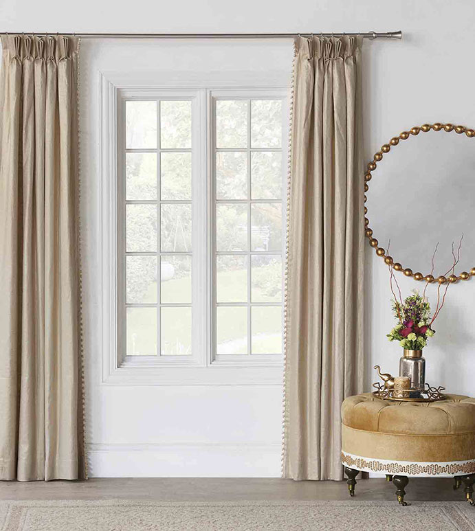 Marceau Ball Trim Curtain Panel - ,CURTAINS,WINDOW TREATMENTS,GOLD CURTAIN,BALL TRIM,METALLIC CURTAIN, FABRIC,CURTAIN PANEL, GOLD,DRAPERY,DRAPES,PINCH PLEAT,LUXURY CURTAINS,COTTON BLEND CURTAINS,LUXURY DRAPES,GLAM,