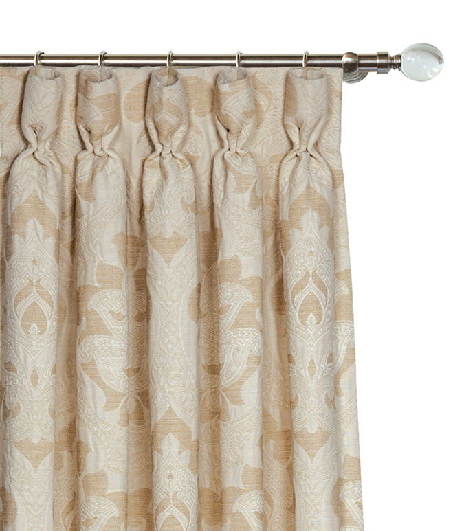 Brookfield Curtain Panel - BROCADE CURTAIN,IVORY BROCADE CURTAIN,BROCADE DRAPERY,NEUTRAL CLASSIC DRAPE,GOBLET PLEAT CURTAIN,VICTORIAN PLEATED CURTAIN,NEUTRAL DECORATIVE CURTAIN,TAN AND CREAM,TRADITIONAL