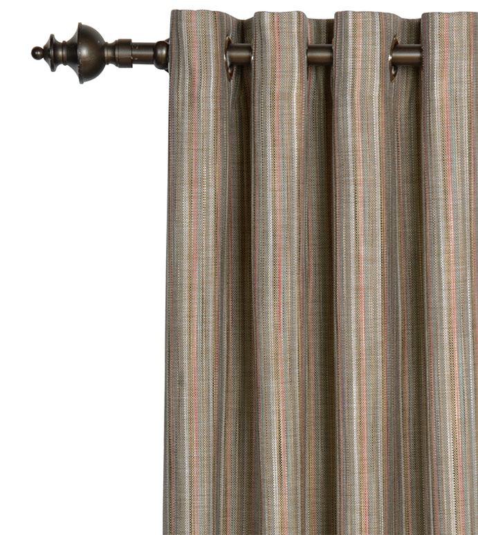 Lambert Kilim Curtain Panel - STRIPED GROMMET PANEL,EARTH TONE GROMMET CURTAIN,NEUTRAL PATTERN CURTAIN,COASTAL WINDOW TREATMENT,BEACH HOUSE DRAPERY,VERTICAL STRIPES,CONTEMPORARY,ANTIQUE BRASS GROMMET