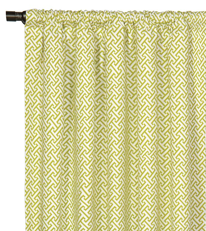 Chive Sparrow Curtain Panel - GREEN AND WHITE CURTAIN,LIME GREEN CURTAIN,CHARTREUSE CURTAIN,LATTIC PRINT CURTAIN,GREEN ROD POCKET,GIRLS ROOM CURTAINS,GIRLS ROOM DRAPERY,TWEEN ROOM CURTAINS,WHITE AND GREEN