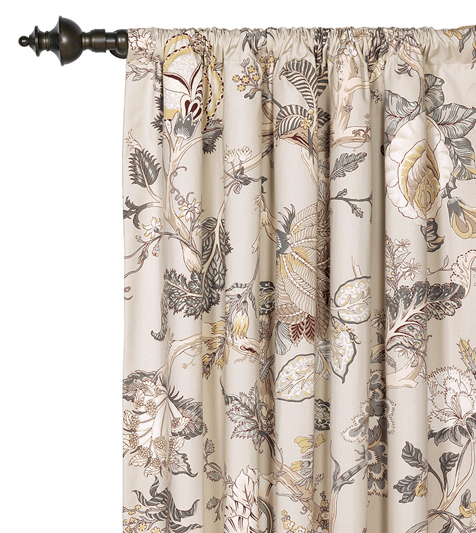 Edith Curtain Panel - GRAY FLORAL CURTAIN,FLORAL PRINT CURTAIN,FLORAL DRAPERY,ENGLISH GARDEN STYLE DRAPERY,GRAY,TAN,BOTANICAL,BOTANICAL CURTAIN,FLORAL WINDOW PANEL,LARGE FLORAL,ROD POCKET,NEUTRAL,TAUPE