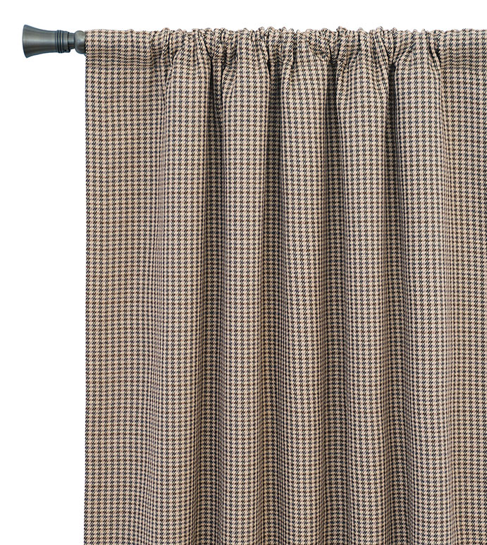 Aiden Houndstooth Curtain Panel - PLAID CURTAIN PANEL,FLANNEL CURTAIN PANEL,CHECKERED,TAN,CREAM,BROWN,STRIPED,PLAID CURTAIN,PLAID WINDOW TREATMENT,WINDOW TREATMENT,ROD POCKET,ROD POCKET PANEL,RUSTIC,LODGE,MOUNTAIN