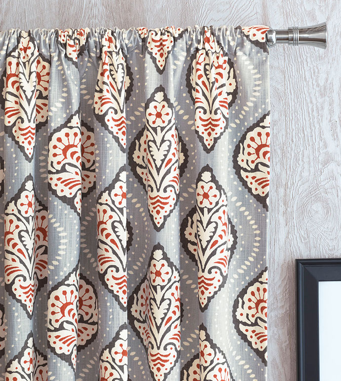 Bowie Ogee Curtain Panel - CURTAIN PANEL,DRAPERY,SINGLE WIDTH,PATTERNED,WHITE,BLUE,ORANGE,BLACK,AZTEC,SILVER,ROD POCKET,COTTON LINING,BEDROOM,FLORAL DESIGN,GEOMETRIC PRINT,BEACH HOUSE,FACE DESIGN,DOTS