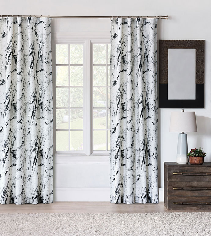 Banks Marble Curtain Panel - CURTAIN,DRAPERIES,CURTAINS,LUXURY CURTAINS,LUXURY DRAPERIES,MARBLE CURTAIN,MARBLE DRAPERIES,BLACK AND WHITE CURTAIN,BLACK AND WHITE DRAPERIES,BLACK AND WHITE,MONOCHROME,LUXURY,