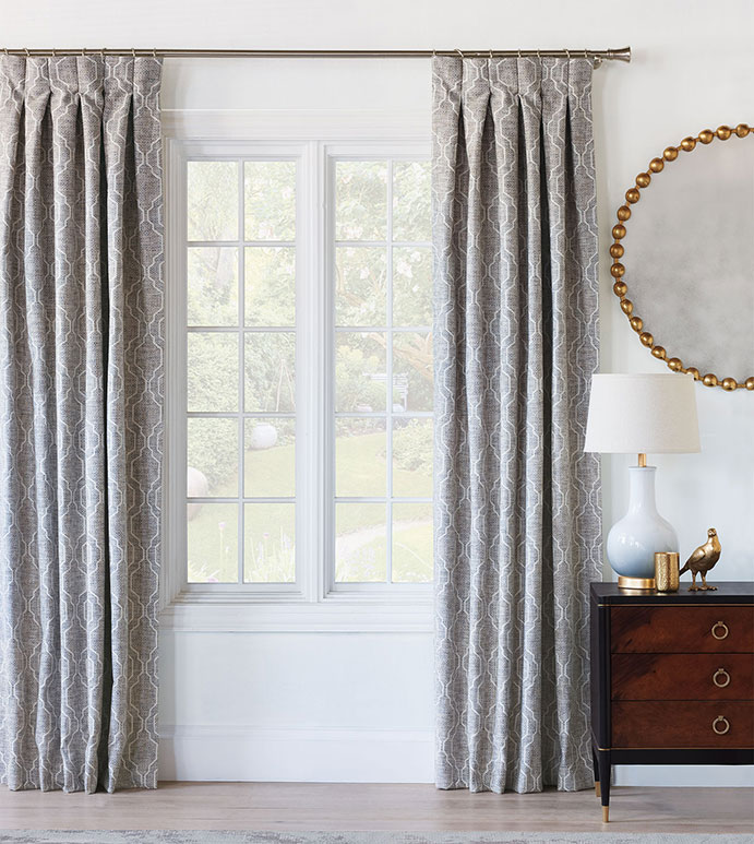Safford Ogee Curtain Panel - CURTAIN,CURTAINS,CURTAIN PANEL,DRAPERIES,DRAPES,OGEE,TRELLIS,LATTICE,MEDALLION,PATTERN,MOTIF,MIDDLE EASTERN,GREY,GRAY,PLEATED,INVERTED PLEATS,LUXURY