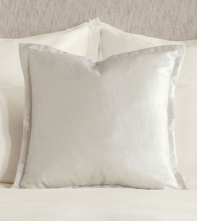 Adrienne Metallic Decorative Pillow In Frost - ,