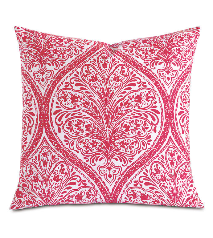 Adelle Percale Decorative Pillow In Sorbet - PERCALE,DECORATIVE PILLOW,PILLOW,ACCENT PILLOW,THROW PILLOW,BED PILLOW,SOFA PILLOW,MEDALLION,DAMASK,JACQUARD,PRINT,PATTERN,PINK,BRIGHT,OGEE,VECTOR,LUXURY BEDDING,EASTERN ACCENTS,