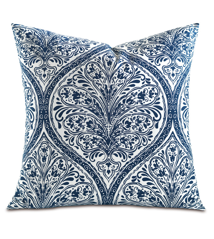 Adelle Percale Decorative Pillow In Marine - PERCALE,DECORATIVE PILLOW,PILLOW,ACCENT PILLOW,THROW PILLOW,BED PILLOW,SOFA PILLOW,MEDALLION,DAMASK,JACQUARD,PRINT,PATTERN,BLUE,BRIGHT,OGEE,VECTOR,LUXURY BEDDING,EASTERN ACCENTS