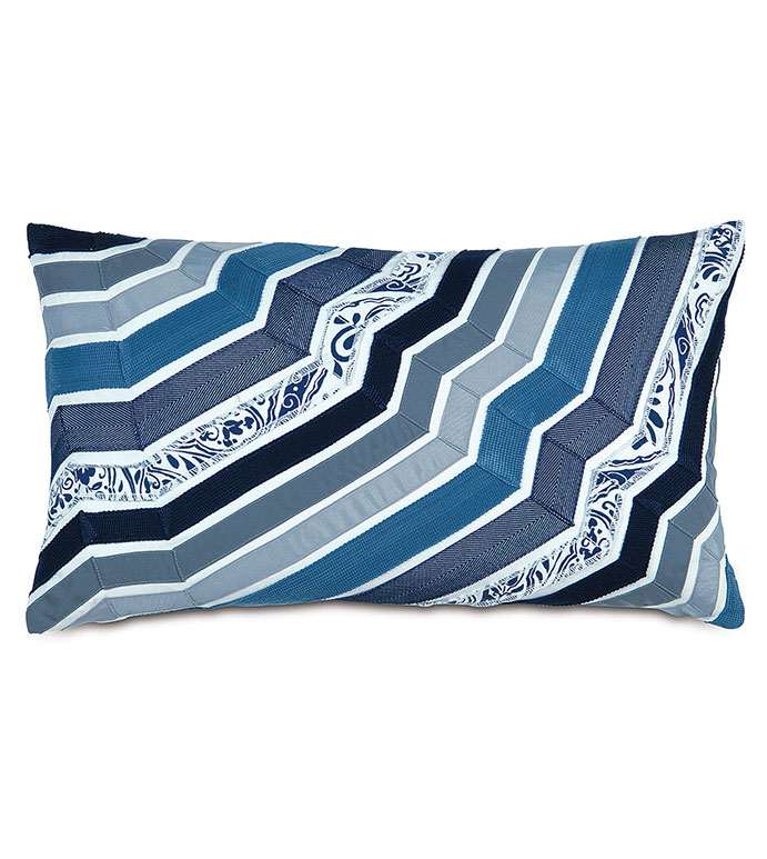 Adelle Ombre Decorative Pillow In Blue - DECORATIVE PILLOW,ACCENT PILLOW,THROW PILLOW,BED PILLOW,SOFA PILLOW,LUXURY BEDDING,RIBBON,OMBRE,STRIPED,STRIPE,PATTERN,TEXTURED,APPLIQUE,PIECED,EASTERN ACCENTS,BLUE,GRADIENT