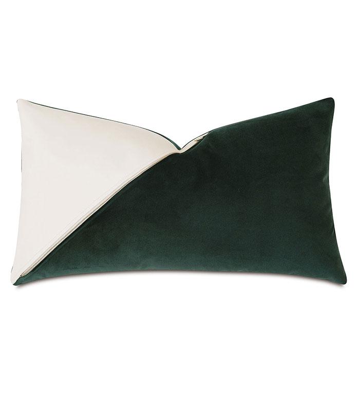Izaro Zipper Detail Decorative Pillow (Left) - ,RECTANGLE PILLOW,VELVET PILLOW,100% LEATHER,COLORBLOCK PILLOW,DECORATIVE PILLOW,LUXURY THROW PILLOW,LEATHER THROW PILLOW,GREEN VELVET,GREEN PILLOW,ZIPPER DETAIL,15X26,GLAM,PILLOW,