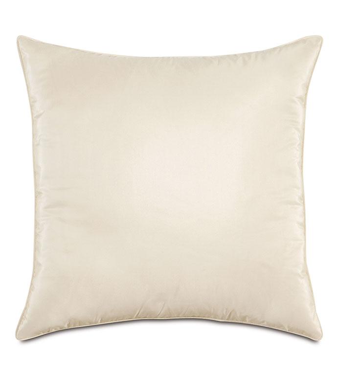 Freda Taffeta Decorative Pillow in Ivory - IVORY,PILLOW,DECORATIVE PILLOW,ACCENT PILLOW,THROW PILLOW,CREAM,CONTEMPORARY,WHITE,SQUARE,20X20,TAFFETA,SILKY,SHINY,HOME DECOR,LUXURY,MADE IN USA,