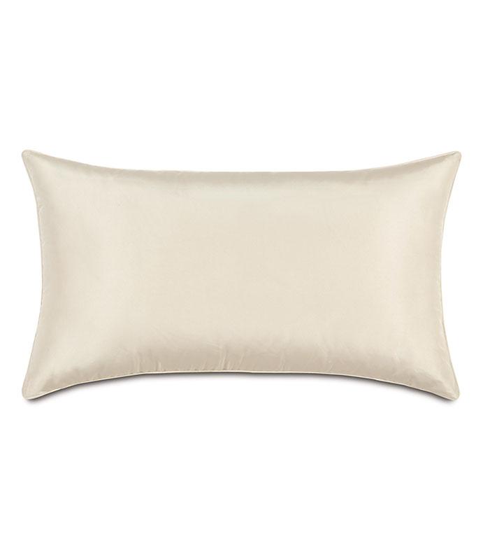 Freda Taffeta Decorative Pillow in Ivory - IVORY,PILLOW,DECORATIVE PILLOW,ACCENT PILLOW,THROW PILLOW,CREAM,CONTEMPORARY,WHITE,RECTANGULAR,15X26,TAFFETA,SILKY,SHINY,HOME DECOR,LUXURY,MADE IN USA,