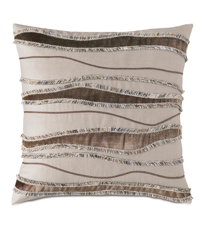 Teryn Applique Decorative Pillow - ABSTRACT,LINEAR,WAVY,GEOMETRIC,PILLOW,THROW PILLOW,ACCENT PILLOW,DECORATIVE PILLOW,PATTERN,DESIGN,VELVET,FRINGE,TEXTURE,TEXTURED,GLAM,20X20,SQUARE,EASTERN ACCENTS,MADE IN AMERICA