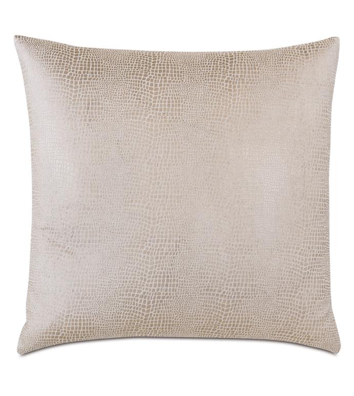 Teryn Faux Snakeskin Decorative Pillow - FAUX SNAKESKIN,SNAKESKIN,FAUX SHAGREEN,SHAGREEN,FAUX LEATHER,METALLIC,GOLD,SHINY,GLAM,GLAMOROUS,PILLOW,ACCENT PILLOW,THROW PILLOW,DECORATIVE PILLOW,LUXURY BEDDING,LUXURY,KNIFE EDGE