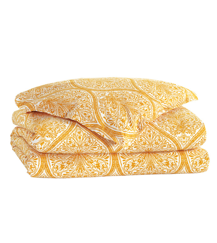 Adelle Percale Duvet Cover In Saffron - DUVET COVER,COMFORTER,BLANKET,YELLOW,BRIGHT,COLORFUL,OGEE,MEDALLION,DAMASK,JACQUARD,EASTERN ACCENTS,PATTERNED,PRINT,LUXURY BEDDING,FINE LINENS,PERCALE,ITALIAN FINE LINENS,