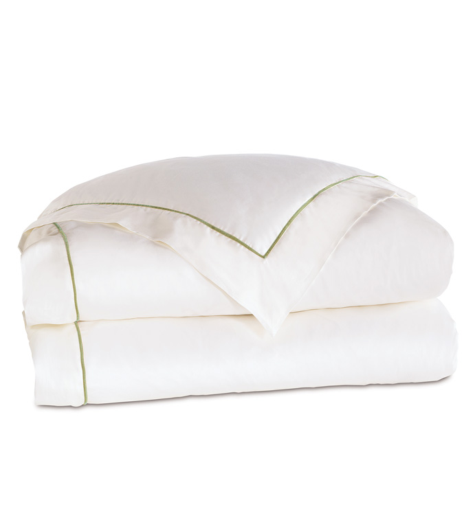 Linea Velvet Ribbon Duvet Cover In White & Aloe - ,