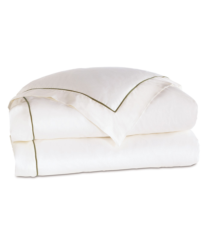 Linea Velvet Ribbon Duvet Cover In White & Oliva - ,