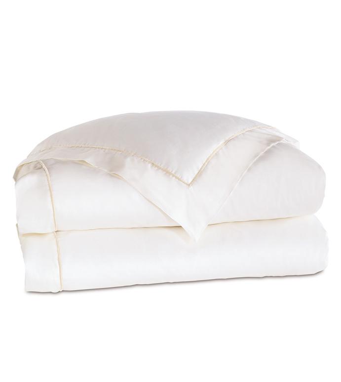 Linea Velvet Ribbon Duvet Cover In White & White - ,