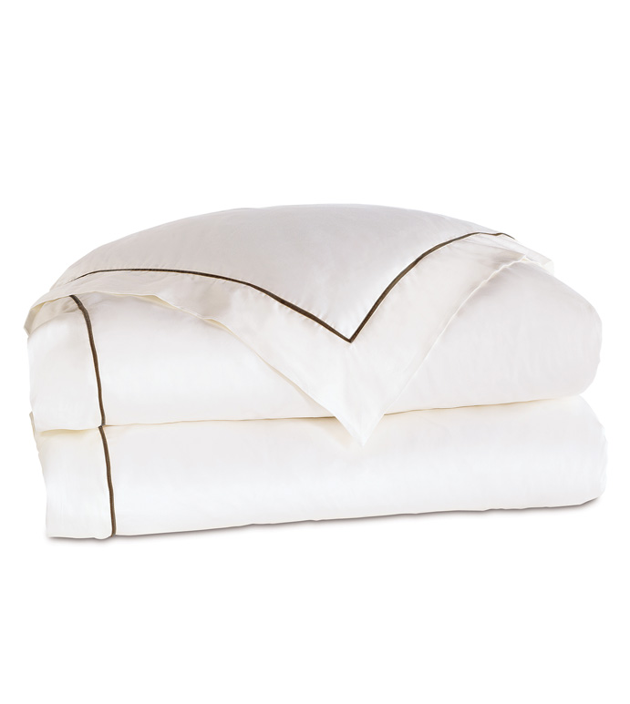 Linea Velvet Ribbon Duvet Cover In White & Walnut - ,