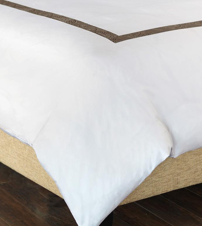 Cornice White/Truffle Duvet Cover - ,