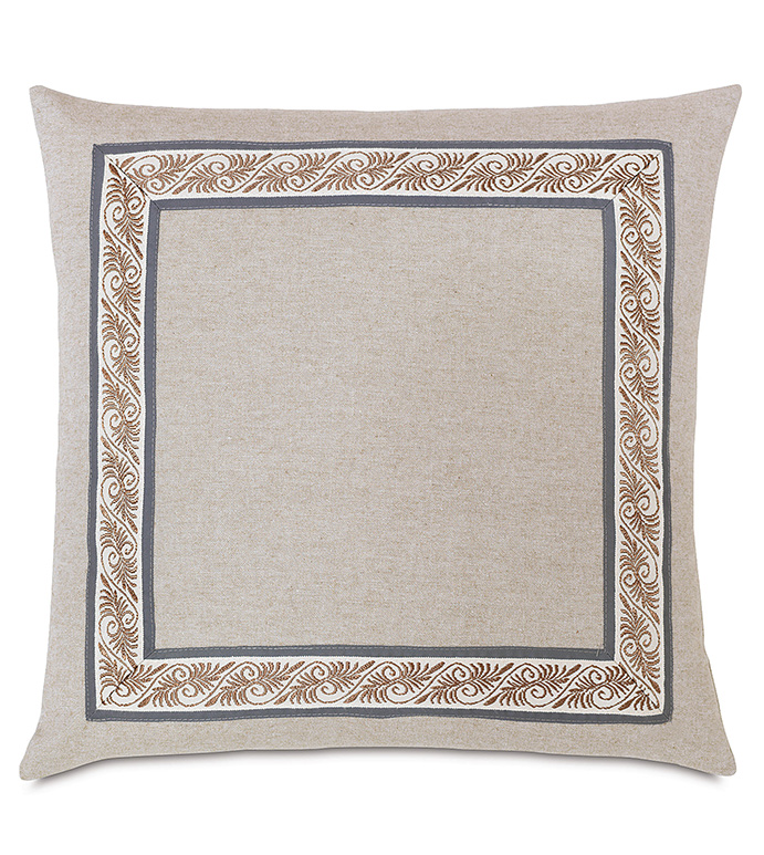 Greer Linen With Mitered Border - GRAY SOLID PILLOW,SOLID GRAY PILLOW,GREY PILLOW,GRAY AND TAN,TAN AND GRAY,NEUTRAL DECORATIVE PILLOW,EARTH TONE,MUTED,TRANSITIONAL,SHAM WITH EDGE BORDER,INSET TRIM,NAVY,TAUPE
